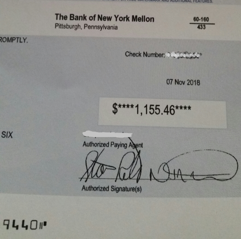 The check we received