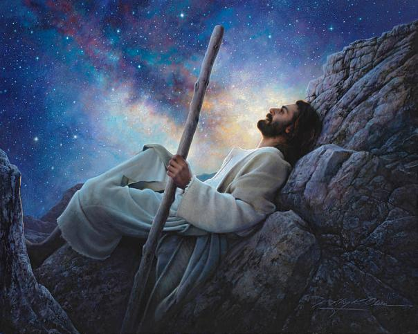 Jesus under the stars looking up